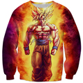 Harajuku Style Classic Anime Dragon Ball Super Saiyan 3D Sweatshirt Bright Fire Son Gohan Hoodies Pullovers Outerwear Tracksuits