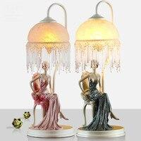 Модная красивая сказка элегантная девушка смолы Стекло настольная лампа для свадебного декора Детская комната E27 стол свет 1737