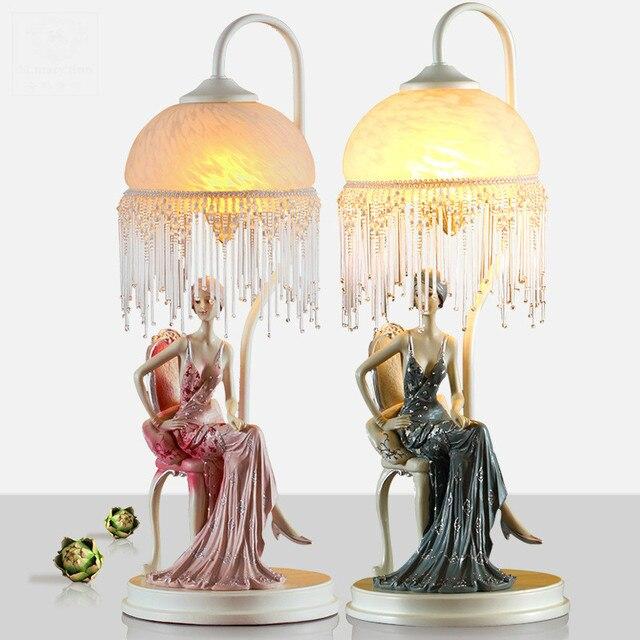 Fashion Lovely Fairytale Elegant Girl Resin Glass Table Lamp For Wedding Decor Children's Room E27 Desk Light 1737
