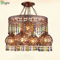 Bohemia Bronze Led Chandeliers Lighting Dining Room Colorful Crystal Led Pendant Chandelier Lights Bedroom Hanging Lamp Fixtures