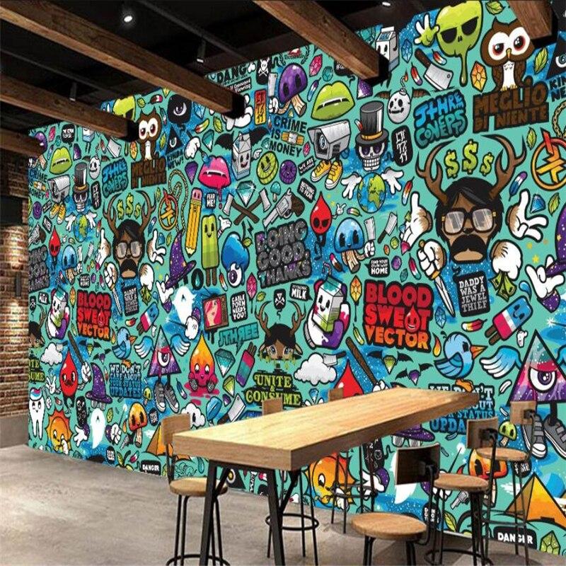 Us 8 85 41 Off Beibehang Wallpaper Custom Mural Europe Cartoon Abstract Graffiti Theme Restaurant Mural Background Wall Papel De Parede In
