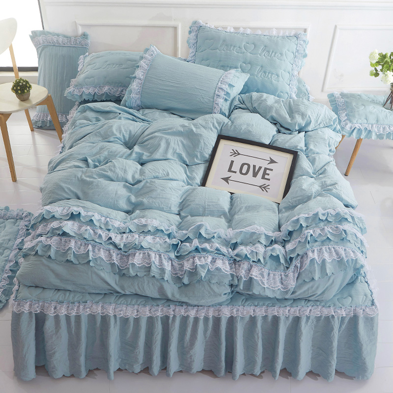 Princess lace <font><b>bed</b></font> skirt Simple Water Wash Cotton Thicker Cotton <font><b>Bed</b></font> Skirt Four Piece Sleeve Set 1.8m2m Bedspread Bedding jf0110