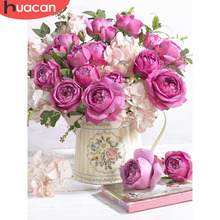 HUACAN Diamond Mosaic Flower Painting 5d Sets With Diamonds Embroidery Full Square Picture Of Rhinestone