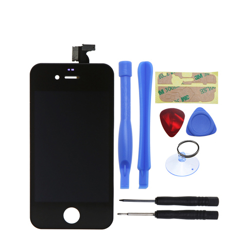High quality !!! Black Replacement For iPhone 4 GSM LCD Display Touch Screen Digitizer Glass Panel Assembly + Free Tools +Stick black white lcd touch screen lens display digitizer assembly replacement for iphone 4 4g gsm cdma