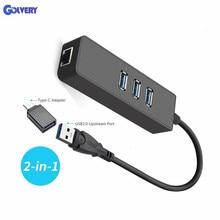 Ethernet-адаптер Портативный USB 3,0 RJ45 10/100/1000 Мбит/с локальной сети проводной адаптер для Chromebook, MacBook, Mac Pro/Mini, iMa