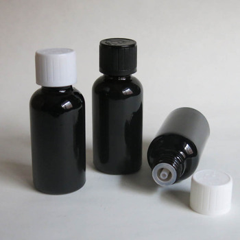 wholesale 30ML Black Glass Bottle with plastic cap ,Serum container 30CC Sample Vials Essential Oil Bottle with white screw cap
