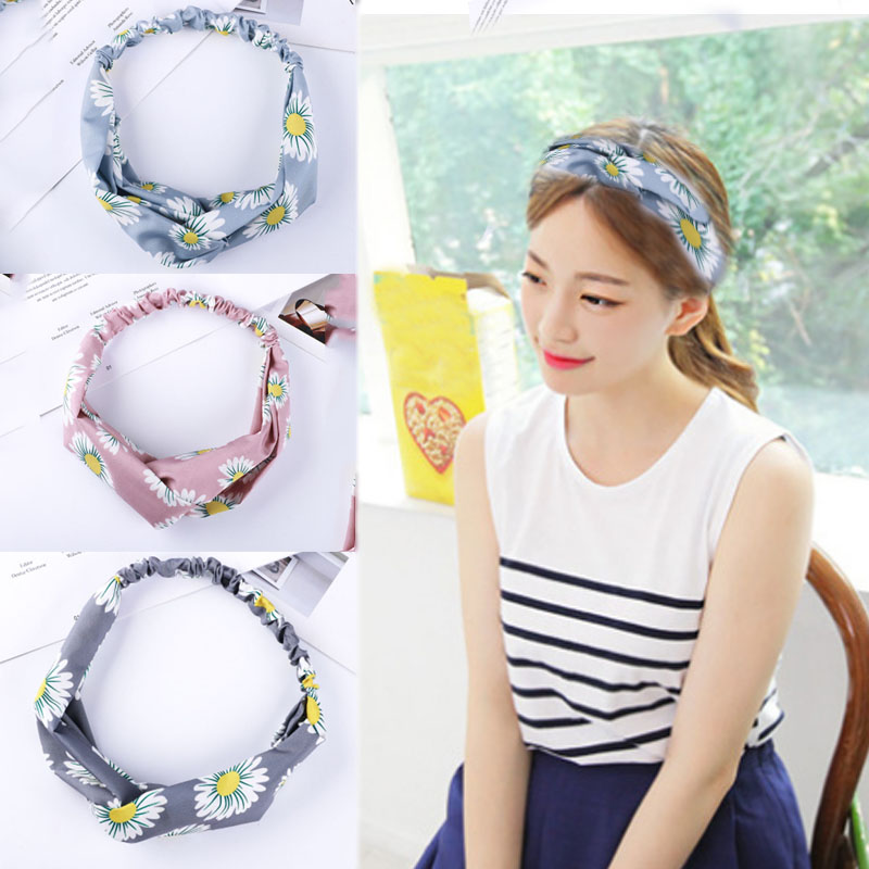 Hot Sale 1PC Fashion Cute Cross Flowers Printed Hairband High Quality Women Girls Headwear  Accessories