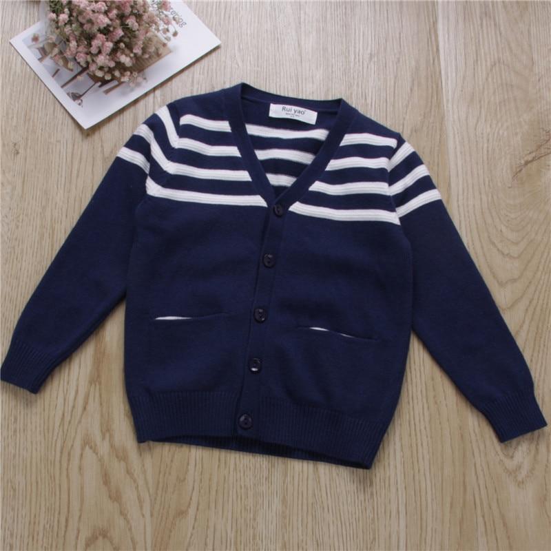 Professional Sale Ybg251232 2017 Baby Boy Cardigan Striped V-neck Single Breasted Boy Sweater Knitwear Kids Sweatercoat Casual Elegant In Style