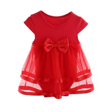 NewBorn Baby Dress Summer Cotton Bow Baby Rompers For girls
