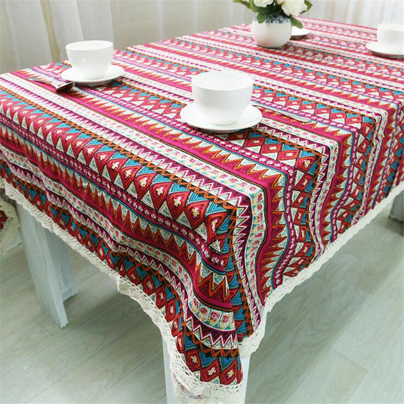 Retro Household Goods Linen Printing Islamic National Style Tablecloth Lace Edge Red Green Cotton Rectangular Table Cloth