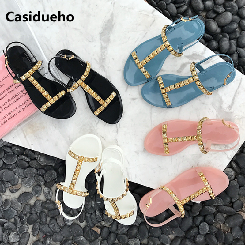 Studded Jelly Shoes Woman Leisure Gladiator Sandals Open Toe Dress Zapatos Mujer Summer Flats Fashion Sandalias Rivet Shoes 2018