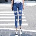 Джинсы женские Джинсы Женщина Осенью 2016 Новой женской корейский Нищий Характер Отверстие Глубоко Карандаш Брюки Носить От Имени ноги