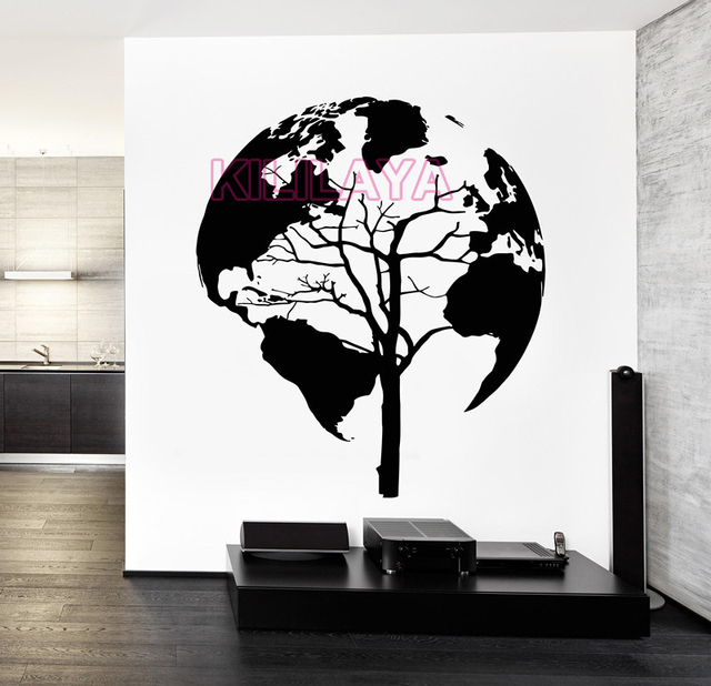 World map tree abstract vinyl wall art home decor black wall world map tree abstract vinyl wall art home decor black wall stickers wall decals wallpaper for gumiabroncs Choice Image