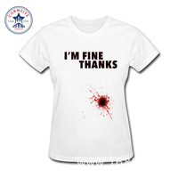 2017 Hot High Quality Cotton I'M FINE THANKS Letter Print Red Blood funny t shirt women