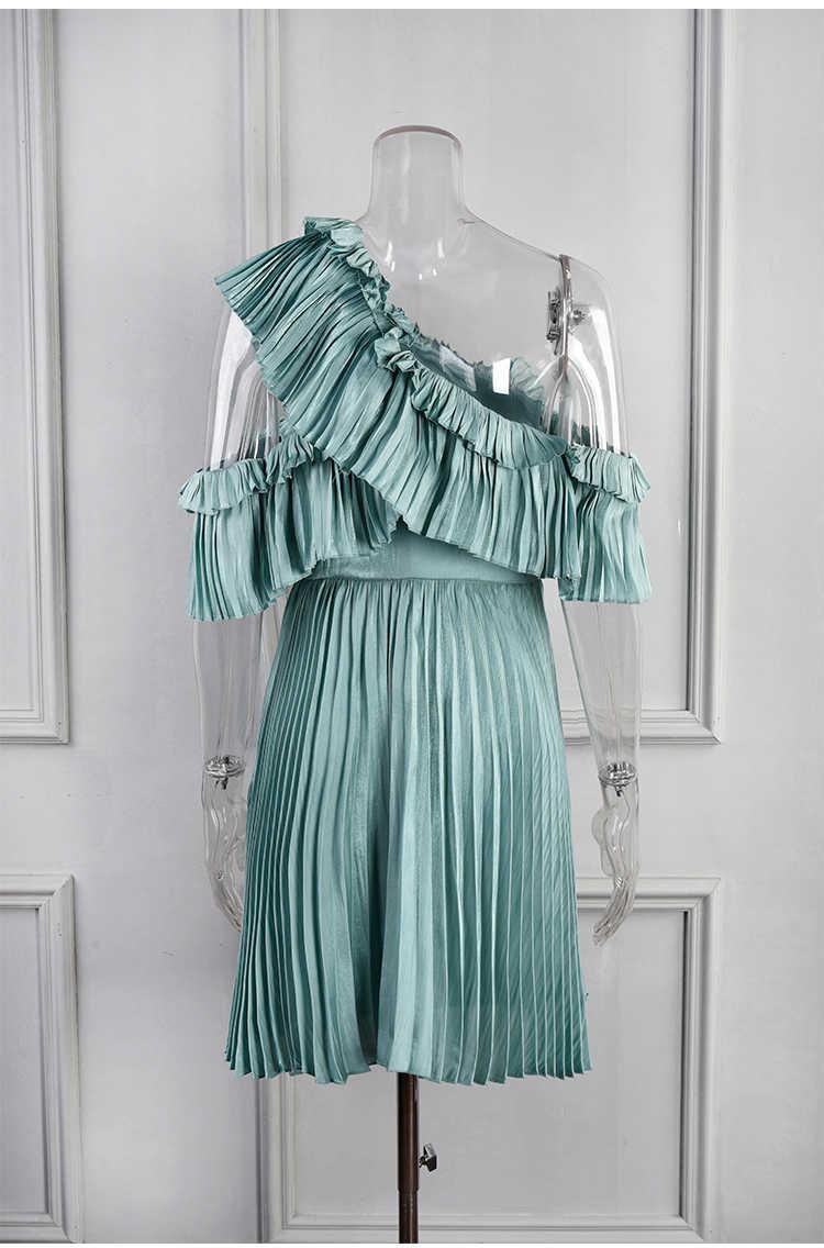 Truevoker летние дизайнерские пикантные вечерние Клубные платья Для женщин платье на одно плечо с рюшами в стиле пэчворк платье с драпировкой Ete Vestidoes