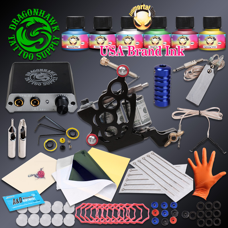 Complete Beginner Tattoo Kit Tattoo Machine Gun Immortal Inks Set Mini Power Needles Tattoo Supplies beginner tattoo kit 1 machine gun 4 inks needles tattoo power supply d1025gd 2
