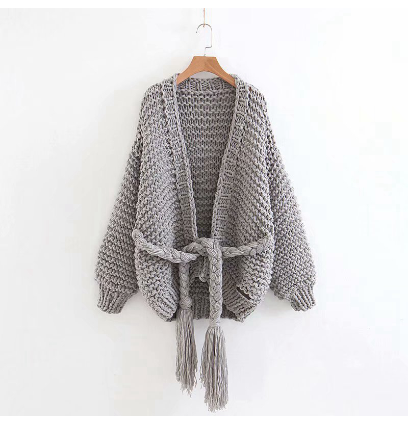 ddc2e057a657 Sweater female 2018 autumn new hand-knitted knit cardigan super loose thick  rope tassel sweater temperament fashion elegant