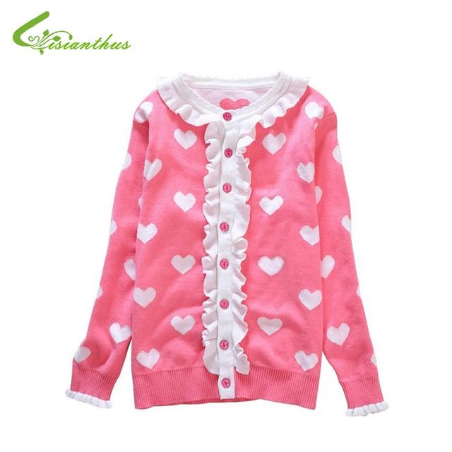 Corazón niñas Cardigan de Punto Outwear Cabritos de la Muchacha de Los Niños del Otoño del Resorte de La Colmena de La Princesa Suéter Prendas de Punto Ropa Envío de La Gota Libre