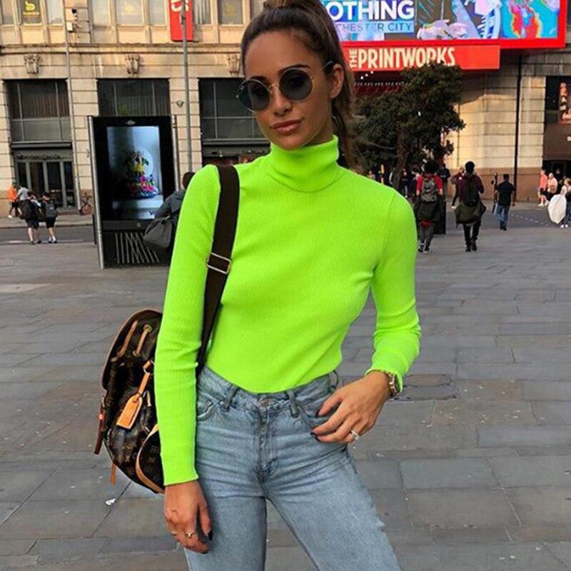 2018 Autumn Winter Neon Color Ribbed T Shirt Women Long