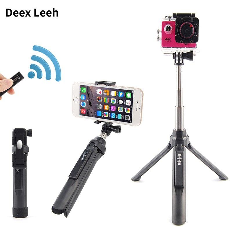 Mini Bluetooth Selfie Bâton Poignée Manfrotto Universal Selfipalka Pau de auto Pour iPhone 6 5 Android Bâtons