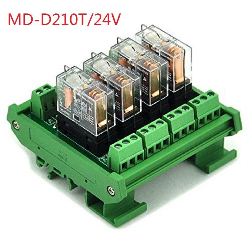 Electronics-Salon DIN Rail Mount AC/DC 24V Control 4 SPDT 16Amp Pluggable Power Relay Module, G2R-1-E