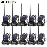 מכשיר הקשר 10pcs Retevis RT-5R DTMF מכשיר הקשר 5W 128CH UHF + VHF Dual Band רדיו שני הדרך רדיו Communicator Hf משדר A7105A (1)