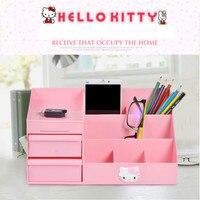 Hellokitty Desktop Cosmetic Storage Box Drawer Type Plastic Large Jewelry Collection Box Plastic Storage Box Makeup