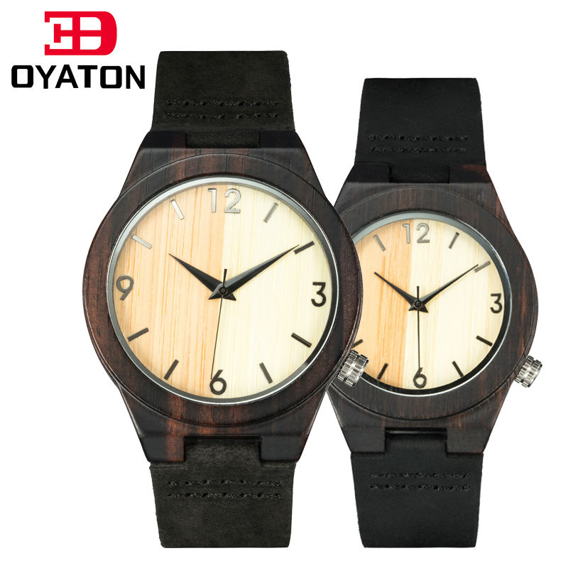 couple watches for men and women wood watches lover s wooden clock quartz wristwatch black leather