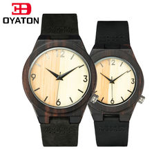 couple watches for men and women wood watches lover's wooden clock quartz wristwatch black leather band luxury brand 2017 OYATON