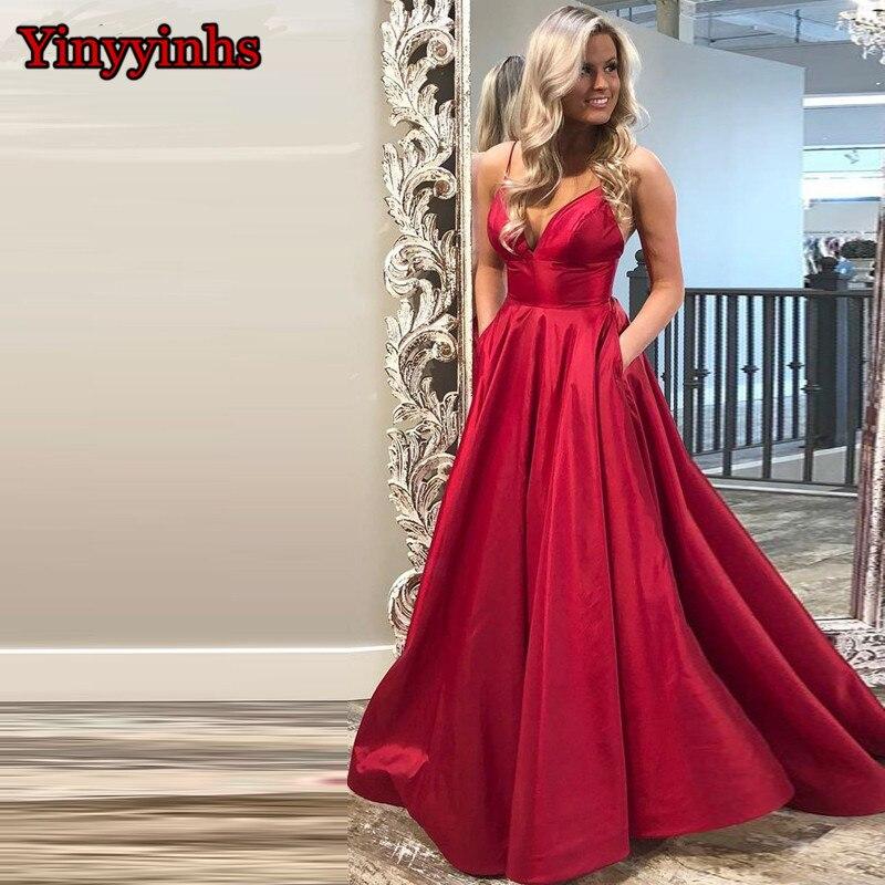 Robe de bal à col en V à bretelles Spaghetti bleu Royal rouge avec fente haute Satin longue robe de soirée 2019 avec poche