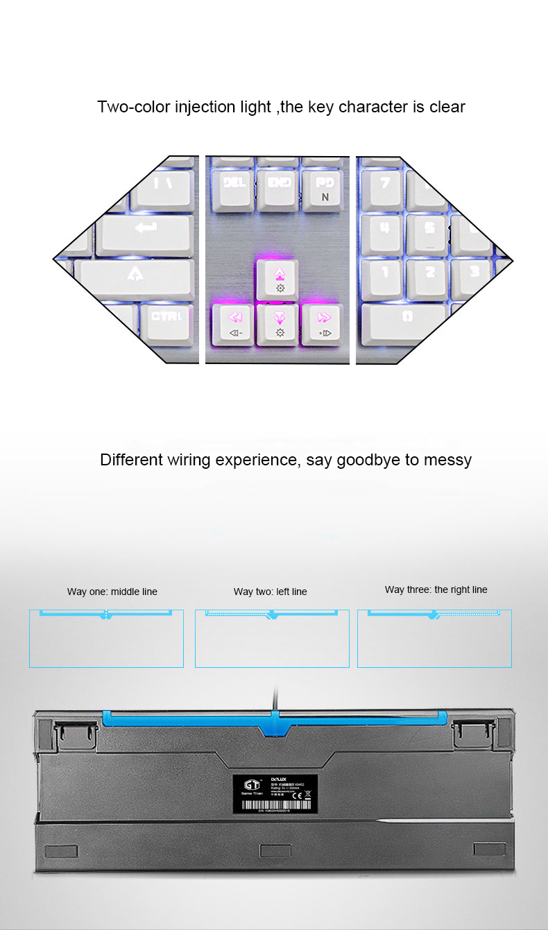 Delux Wired Gaming Keyboard Mouse Combo Backlit Mechanical Optical Wiring Diagram Usb Keycaps 4000dpi Game Mice Gamer Set