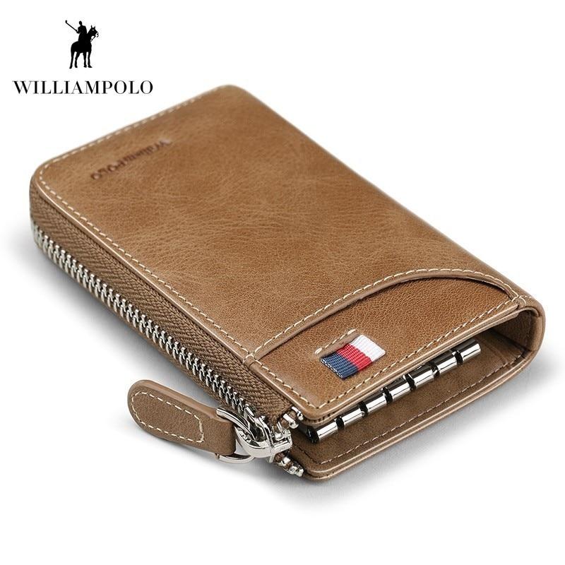 WILLIAMPOLO Vintage Zipper Key Holder Leather Men Car key Organizer With keychain porte Fashion Leather Key Bag Case PL309