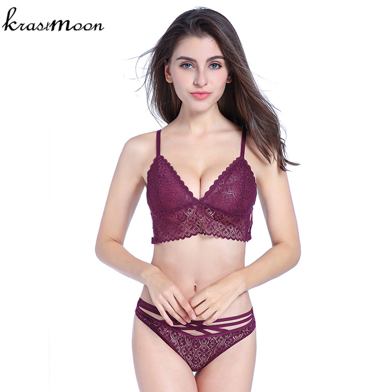 Brand Women Sexy Lace Comfortable Push Up Bra Sets High Quality Thin Cup Bra And Panty lingerie Underwear Bra Set KM104
