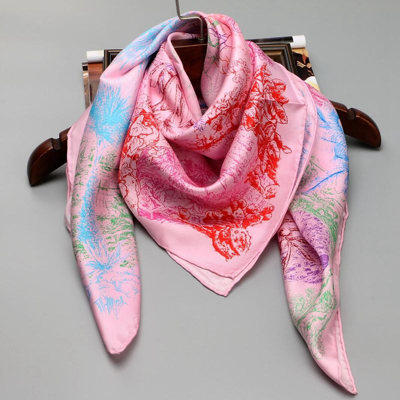 Temperament Printed 100% Silk Twill Scarf, Women Ladies Square 90 Silk Scarfs Wraps Shawl Hijab Hand Rolled Edge