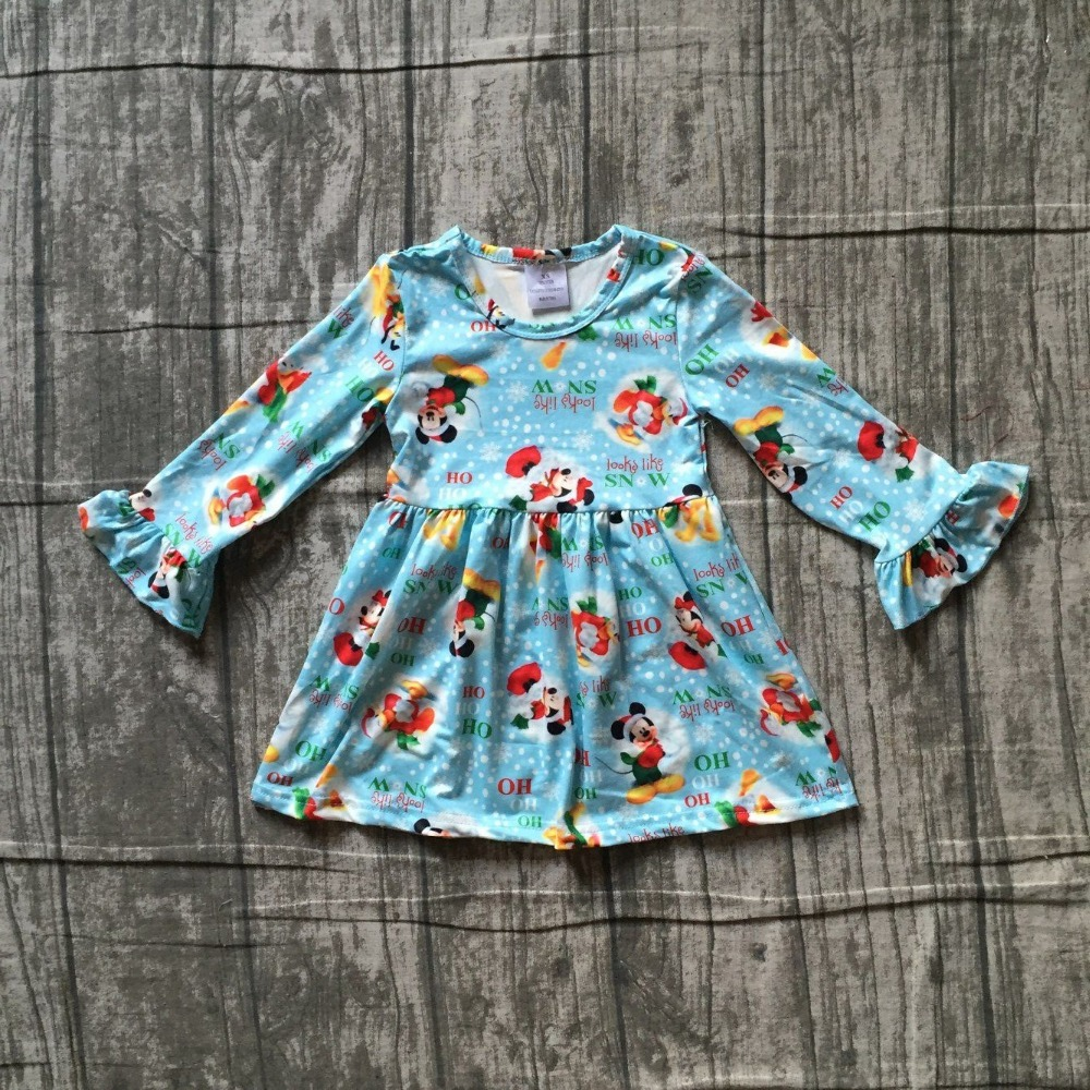 Christmas dress baby girls long sleeves blue mouse print milk silk looks like snow hohoho clothing boutique cartoon kids wear blue floral print v neck slit design long sleeves dress