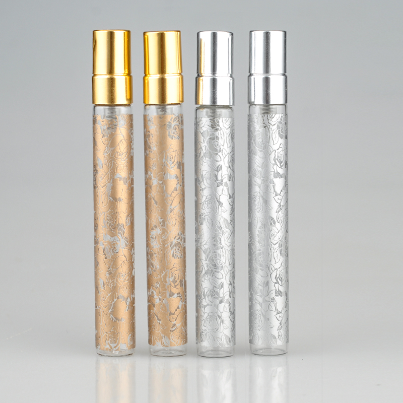 10 Pieces/Lot 10ML Printing Parfum Travel Spray Bottle For Perfume Portable Empty Cosmetic Containers With Aluminium Spray 5 pcs empty cosmetic containers women spray perfume bottle clear 30ml empty spray bottle travel plastic perfume bottles