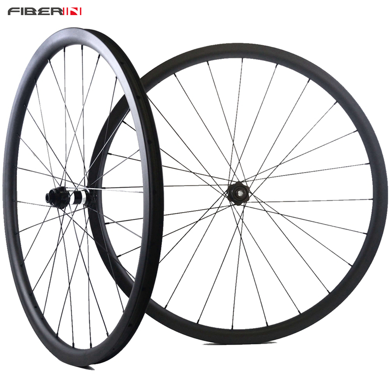 Road bike wheelset 3K/UD Matt surface 30mm depth 27mm width clincher tubuless cyclocross bicycle disc wheels