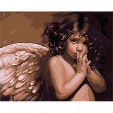 angel wing baby Scenery Figure DIY Digital Painting By Number Modern Wall Art Canvas Painting Christmas Gift Room Decor 40x50cm(China)