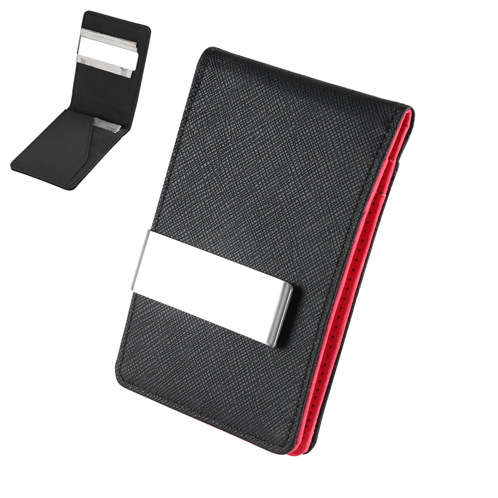 1Pcs 2019 Designer Men Fashion PU Leather Money Clip Slim Wallets Black Purse Bifold Men Money Clip Male Purses Holder Case Gift