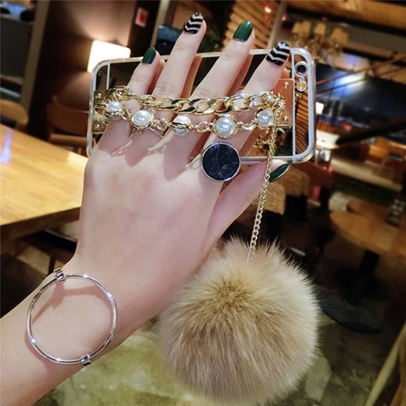 1Pcs Fluffy Fur Ball Diamond Rhinestone Bracelet Mirror Phone Case For OPPO F1 F1s F3 R11 R11s Plus F5 F7 F9 R15 R17 Pro Find X