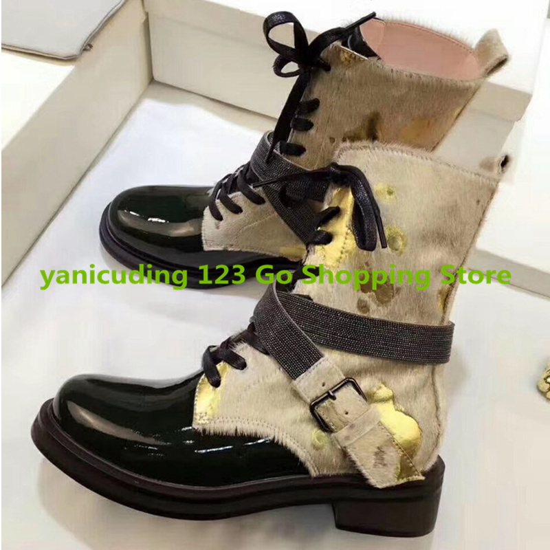 Retro Women Autumn Boots Front Lace Up Mixed Color Short Booties Belt Buckle Design Low Heel Mid-calf Boots Brand Runway Shoes double buckle cross straps mid calf boots