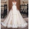 Puffy A-Line Appliques Lace Tulle plus size Wedding Dresses Robe De Mariage Vestido De Noiva Renda Vintage bridal Gown 2016 New