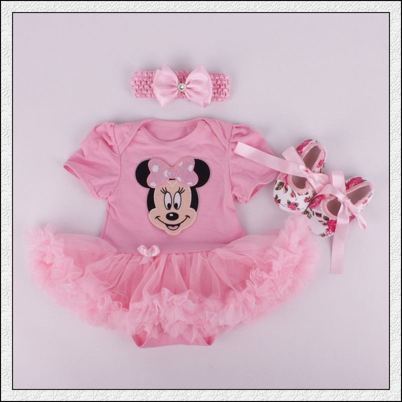 Minne  Baby Toddler Romper + Headband + Shoes / 3 Pcs Set  FREE SHIPPING / Pink Headband /pink Tutu/floral Shoes /mickey And Min