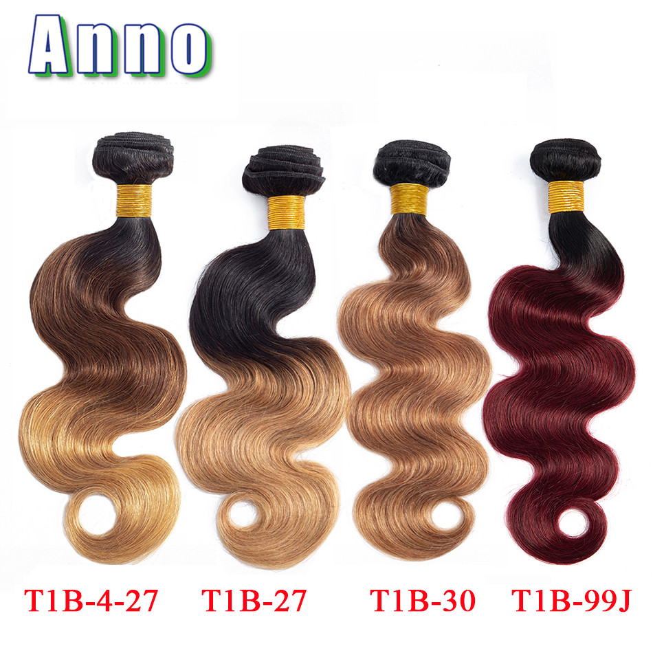 Hair Extensions & Wigs Annowig Ombre Human Hair Bundles Ombre Brazilian Hair Weave Bundles Body Wave Colored Bundle Honey Blonde T1b/4/27 Non Remy Hair To Make One Feel At Ease And Energetic