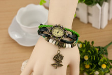 Top Brand Retro Bracelet Wrist Watch Ladies Multi Plyer  Leather Band With Wooden Beads Rose Flower Charm Rhinestone Watch