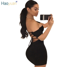 HAOYUAN Backless Bodycon Bandage Dress Off Shoulder Short Sleeve Mini Robe Sexy