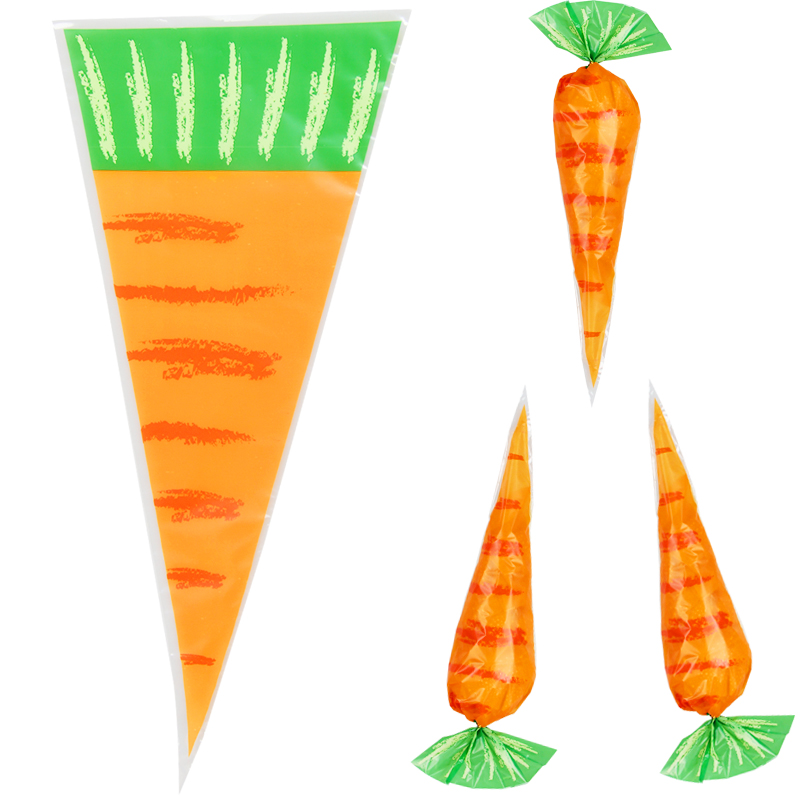 20pcs Easter Party Decorations Carrot Candy Bags Rabbit Gift Bags Cones Transprant Plastic Bag Kids Birthday Party Decoration