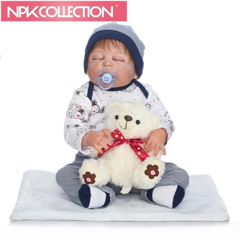 56cm Lifelike Soft Silicone Reborn sleeping baby Super realistic doll bear toy Arianna Tatiana boneca silicone reborn doll silicone bear
