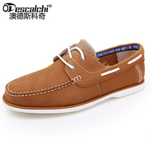 Odescalchi 2017 Mens smart casual  brand  leather  docksides deck boat shoes mens flat slip ons loafers