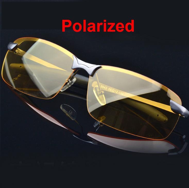 M4 Mode de voiture de lunettes de Soleil Polarisées Lunettes de Vision Nocturne hommes Lunettes de Conduite Anti-éblouissement Argent Alliage Cadre glasse + sac en tissu
